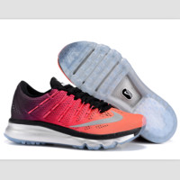 """NIKE"" Trending AirMax Toe Cap hook section knited Fashion Casual Sports Shoes Black-orange-pink gradient (silver soles)"