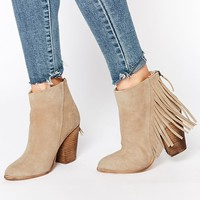 New Look Suede Fringe Heeled Boots