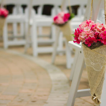 Burlap and Lace Wedding Cone Flower Decor for Aisles, Pews, Chairs