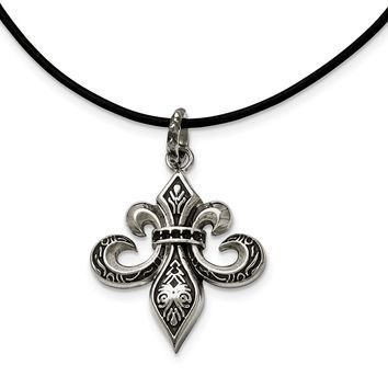 Stainless Steel and Polished Fleur de Lis Necklace 20in