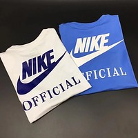 NIKE 2018 new men's tide brand behind the big LOGO sports breathable T-shirt F0659-1