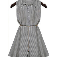 Black and White Striped Sleeveles Shirt Collar Chiffon Mini Dress
