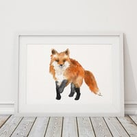 Nursery print Cute fox art Watercolor poster ACW48