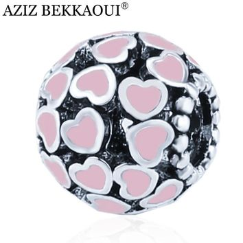 2017 European large hole diy crystal beads fit pandora bracelet necklace pink enamel charms for women fashion jewelry valentine