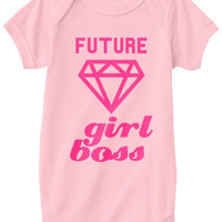 Future Girl Boss Graphic Print Baby Onesuit - Light Pink/Hot Pink