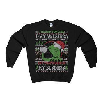 Ugly Christmas Sweaters Frog But Thats None Of My Business Adult Sweatshirt