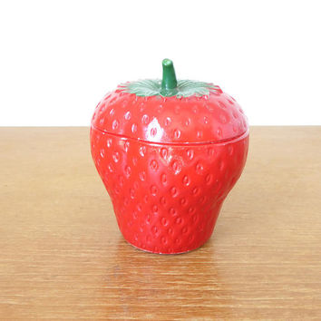 Hazel Atlas milk glass strawberry jar