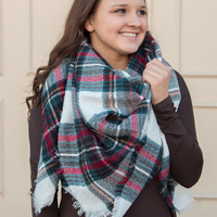 Christmas Plaid Blanket Scarf - White