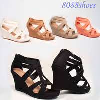 Women's Cute Strappy Low Wedge Open Toe Platform Fashion Sandal Shoes Size 5- 10
