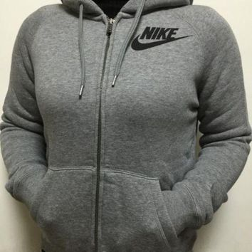 PEAP2Q nike gray zip up hoodie jacket sweater sweatshirts