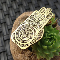 Palm Reader Sacred Geometry Hat Pin, Hand of Buddha design hand drawn by Melanie Bodnar for Enlighten