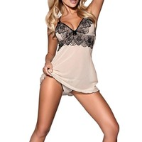 Lady Sexy Nightgowns Lingerie Cotton Night Sexy Spaghetti Strap Plus Size Women Dress