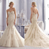 Discount Custom Made High Quality Women Girl Sweetheart Gorgeous Beading Mermaid Wedding Dresses 2015 Sexy