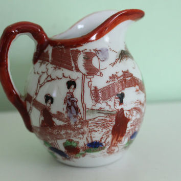 Japanese Geisha Girl Porcelain Milk Jug, Milk Pitcher, Creamer, Cream Dish, Collectible