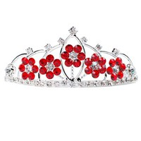 Red Rhinestone Florals Tiara - Tiaras - ACCESSORIES