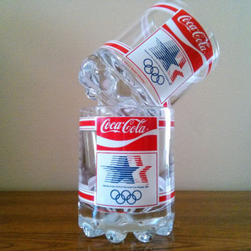 2 Vintage 1984 Olympics Coca Cola Glasses Olympic Coke Rocks Glasses, Los Angeles Olympics USA Collector Cups Vintage Barware Coke Collector
