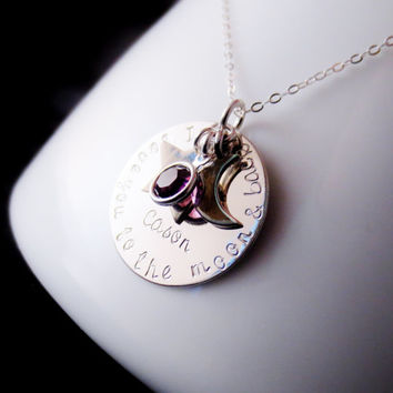 Moon and Back Necklace, Mommy Jewelry, Silver Personalized Name, Kids Children Names, Mother Grandma Present, Valentines Day Mothers Day