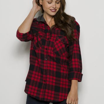 Girls Long Sleeve Boyfriend Light Flannel Plaid With Jersey Hood Shirt