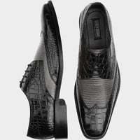 Stacey Adams Amato Black and Gray Wingtip Lace Ups - Dress Shoes | Men's Wearhouse