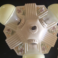 Antique Vintage Porcelain 3 Bulb Ceiling Light Fixture Porcelier 1930s Rewired