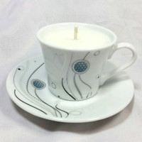 Upcycled Miniature Teacup and Saucer Soy Candle/Repurposed Honeycomb Print Tea Cup Candle/Shabby Chic Candle