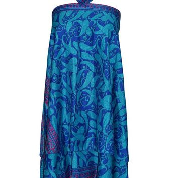 Women's Magic Wrap Skirt Blue Premium Silk Sari Reversible Skirts,Gift For Her... ... ...