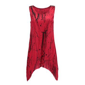 2018 new spring summer sleeveless print tank tops woman loose o-neck cotton long T-shirt vintage Casual Female tops Tee