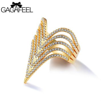 GAGAFEEL V Shape Ring Women Pave Zircon Crystal Multiple Layers Rings Index Finger Accessories Gold Color Copper Fine Jewelry