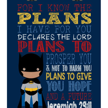African American Batman Christian Superhero Nursery Decor Art Print - For I Know The Plans - Jeremiah 29:11 - Bible Verse - Scripture Print