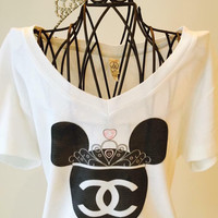 Mini Mouse Chanel Logo inspired with crown Cotton T shirt in white!