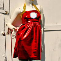 Iron metal Man retro halter dress Cosplay Costume womens and Plus size