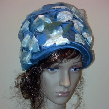 Blue Floral Turban Hat  Ready for Garden Party, Church, a Wedding or Tea Party, Easter
