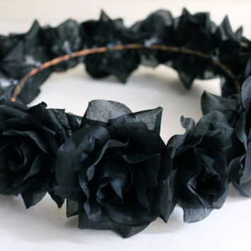 Black Flower Crown, Flower Crown, Black Flower Headband, Black Floral Hair Accessories, Coachella Headband, Halloween Hair Accessory
