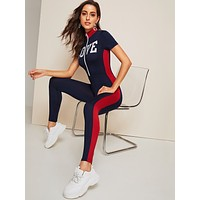 SHEIN Zip Front Letter Graphic Color Block Fitted Jumpsuit