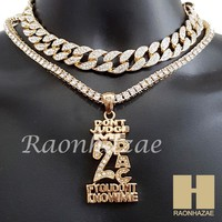 "Hip Hop Iced Out 2PAC Pendant 16"" Iced Out Choker 18"" Tennis Chain 13"