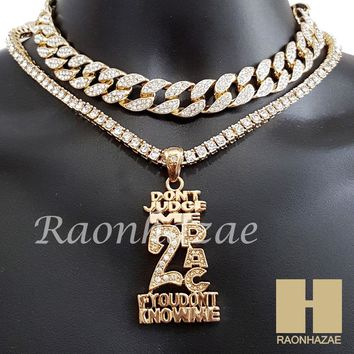 """Hip Hop Iced Out 2PAC Pendant 16"""" Iced Out Choker 18"""" Tennis Chain 13"""