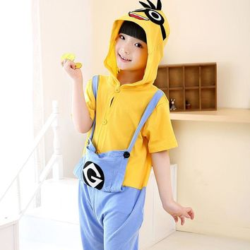 All In One Kids Summer Despicable Me Minions Doraemon Animal Cow Cat fox Onesuit Children Girl Boy Short Sleeve Cotton Costumes