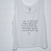 Beside You Lyrics Tank Top | 5 Seconds of Summer screen printed Crop Tank