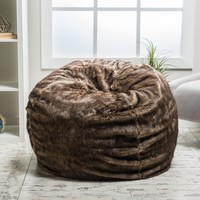 Meridian Plush Dark Brown Fur Fabric Bean Bag
