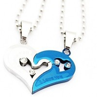 Couple Stainless Steel Necklace Sets I Love You Heart Shape Pendant (Blue & Silver)