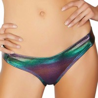 Dark Multicolored Holographic Scrunchy Booty Shorts