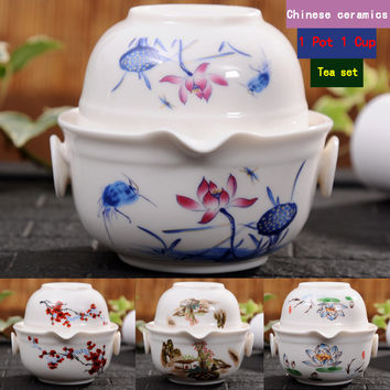 china good product kuaikebei Kung Fu Tea set Include 1 Pot 1 Cup, High quality elegant gaiwan,Beautiful and easy teapot kettle