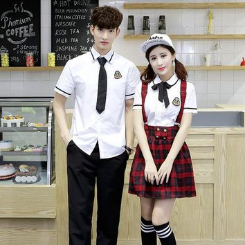 2018 summer school uniform set student uniform tie sailor suit set table costume japanese school uniform girl short sleeve