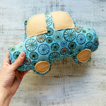 Stuffed car toy car nursery decor 8x10 inches primitive soft gift for kid children blue green