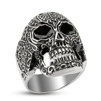 Day of the Dead Skull Cast Ring Stainless Steel