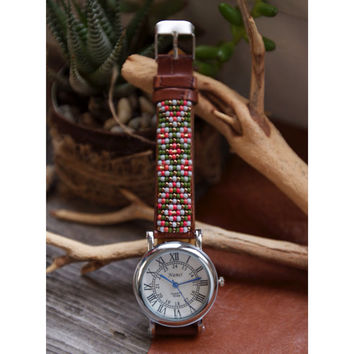 BW-04,Free U.S shipping,Native American inspired hand-beaded watch.brown,leather,handmade,hippie,boho,hipster