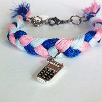 BFF braided friendship bracelets with cell phone charms, pink blue bracelet, braided bracelet, textile bracelet, BFF gifts, BeadingByJenn