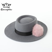 2017 Autumn winter fashion Large eaves Retro New pattern Rabbit ball wool  Flat Top Fedora Hat