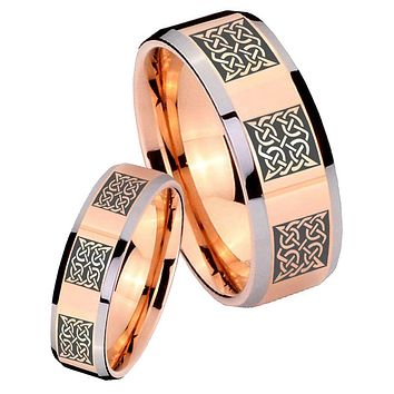 His Hers Rose Gold Beveled Multipe Square Celtic 2 Tone Tungsten Wedding Rings Set