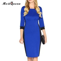 MOQUEEN New Dress Patchwork Women Office Work Dress Fashion Ladies Business Casual Slim Bodycon Blue Pencil Dresses